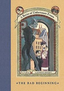 The Bad Beginning book cover. - The first in the series of unfortunate events by Lemony Snicket