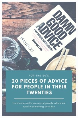 A graphic promoting the post: '20 pieces of advice for people in their twenties