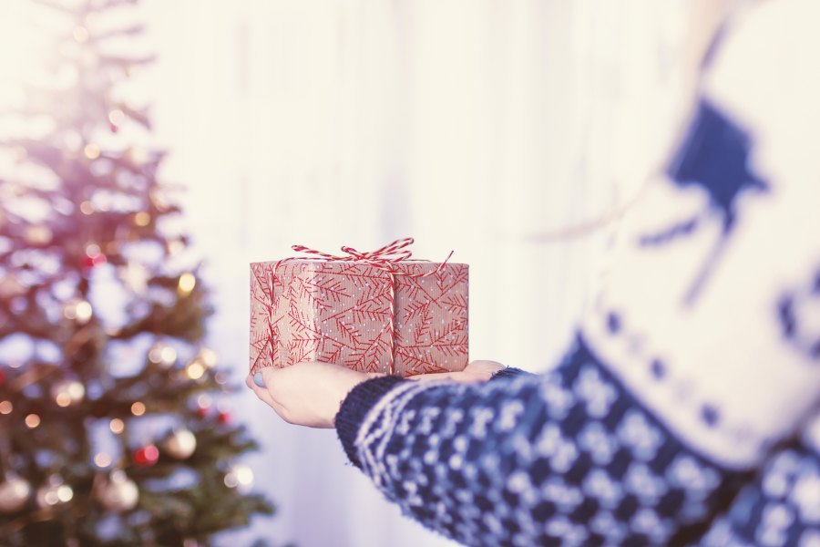A wrapped christmas present being held toward a christmas tree