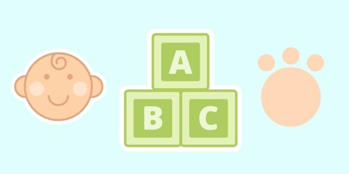 a cartoon baby, paw print, and abc blocks