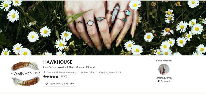 Hawkhouse jewelry website homepage