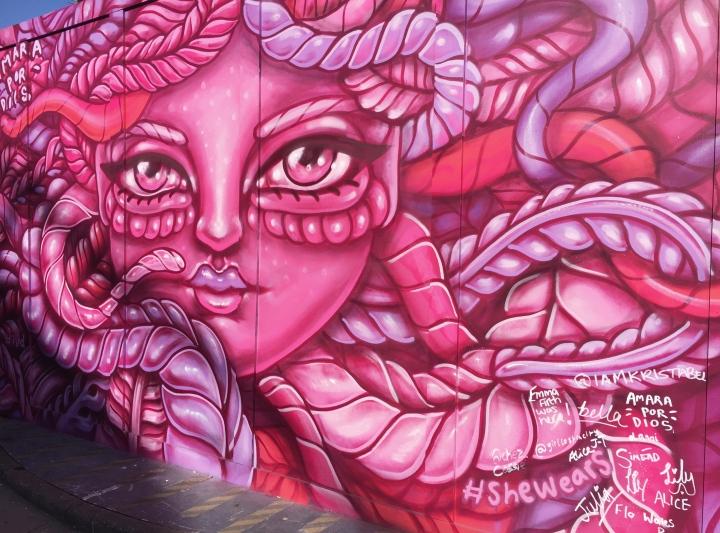 pink goddess street art - london