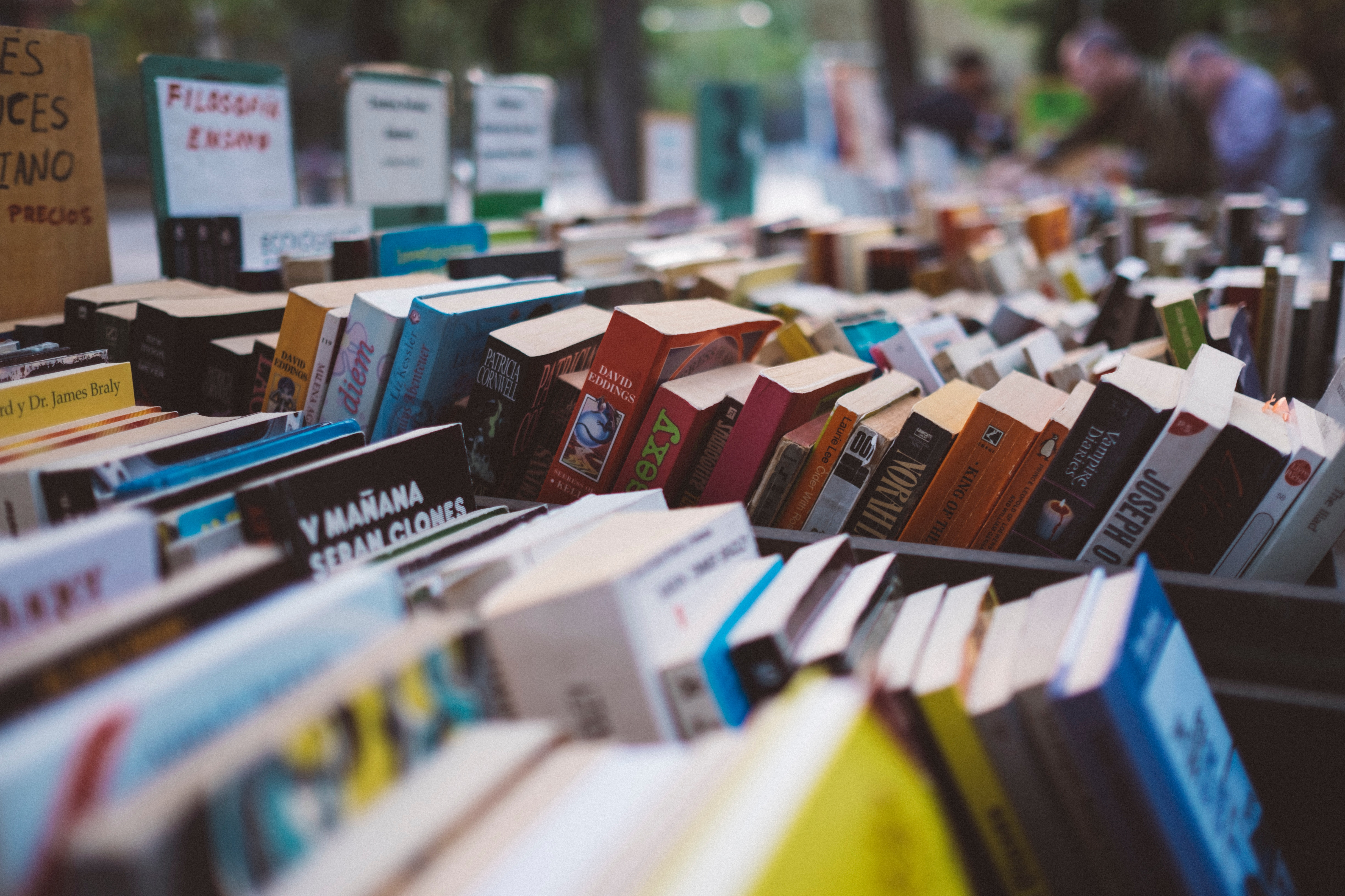 books at an outdoor market